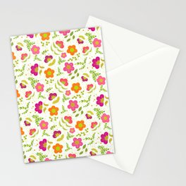 Bright Rounded Flowers on Bed of Pale Green Leaves (pattern) Stationery Cards