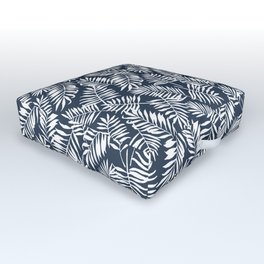 Tropical Palm Leaves - Navy Blue Outdoor Floor Cushion