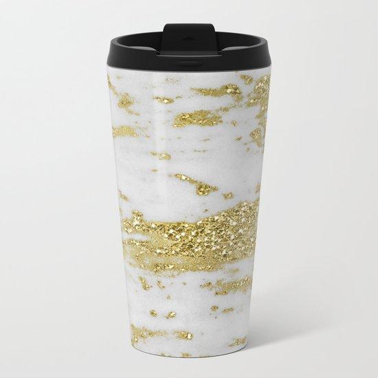 Marble - Glittery Gold Marble on White Design Metal Travel Mug