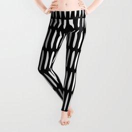 Classy Handpainted Stripes Pattern Black, Scandinavian Design Leggings