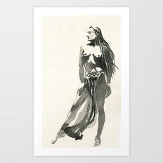 nude watercolor study Art Print