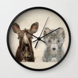 the little wolf and little moose Wall Clock