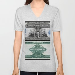 1899 U.S. Federal Reserve Two Dollar Bank Note Silver Certificate Unisex V-Neck