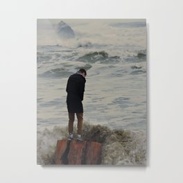 Standing Strong as Waves Crash Metal Print