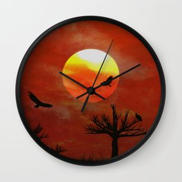 Vulture sunset Wall Clock