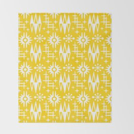 Mid Century Modern Atomic Space Age Pattern Yellow Throw Blanket