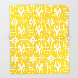Mid Century Modern Atomic Space Age Pattern Yellow Throw Blanket