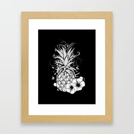 Pineapple with hibiscus blossom Framed Art Print