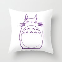 hayao miyazaki Throw Pillows featuring STUDIO GHIBLI HAYAO MIYAZAKI - MY NEIGHBOR TO TO RO by The Fugu Project
