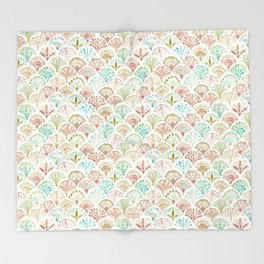 SHELL OUT Coral + Mint Mermaid Scales Throw Blanket