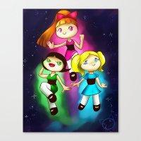powerpuff girls Canvas Prints featuring Powerpuff girls by Lyxy