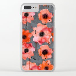 Watercolor poppies on gray background Clear iPhone Case