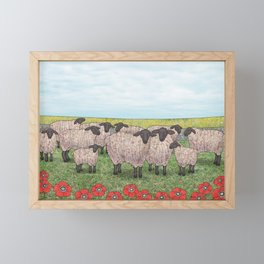 Suffolk sheep in a field with poppies Framed Mini Art Print
