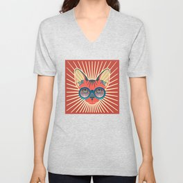 Retro Hipcat & His Sunglasses - Mojo Sunburst Unisex V-Neck