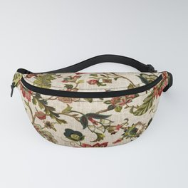 Red Green Jacobean Floral Embroidery Pattern Fanny Pack