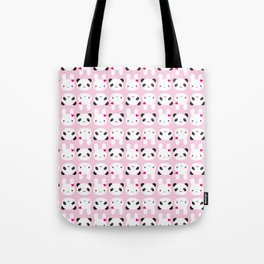 Super Cute Kawaii Bunny and Panda (Pink) Tote Bag