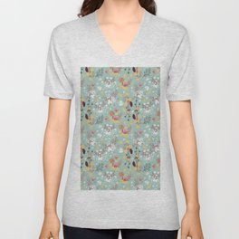 Mint green red yellow white hand drawn floral pattern Unisex V-Neck