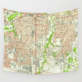 Vintage Map of Fort Worth Texas (1955) Wall Tapestry