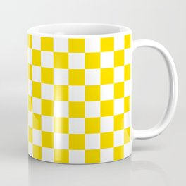 Small Checkered - White and Gold Yellow Coffee Mug