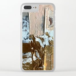 Compelling: a minimal, abstract mixed-media piece in gold, pink, black and white by Alyssa Hamilton Clear iPhone Case