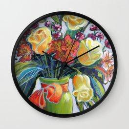 HAPPY BIRTHDAY FLOWERS Wall Clock