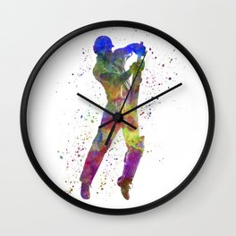 Cricket player batsman silhouette 05 Wall Clock