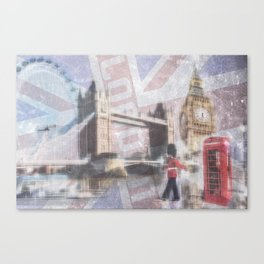london collage - blue Canvas Print