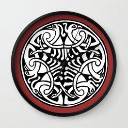 Celtic Art - Interlaced Birds - on Red Wall Clock