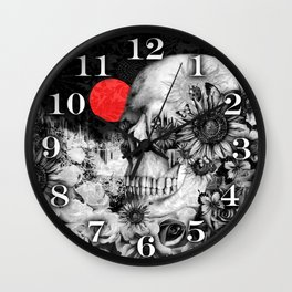 Fire in the dark, nature skull Wall Clock