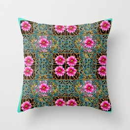 Turquoise-black gold & Fuchsia Dahlias Turquoise Art Nouveau Throw Pillow