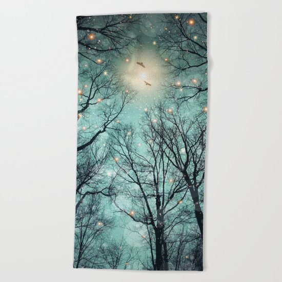 Nature Blazes Before Your Eyes (Mint Embers) Beach Towel