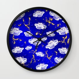 white blossom in blue and gold Digital pattern with circles and fractals artfully colored design Wall Clock