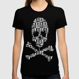 Swimming Glyphs and Sunflowers: Checkered Version With Skulls T-shirt