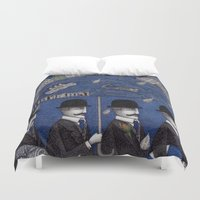 men Duvet Covers featuring Four Men Waiting by Judith Clay