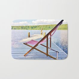 Red deck chair Bath Mat