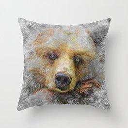 Artistic Animal Baer Throw Pillow
