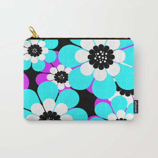 The floral pattern . Purple and turquoise flowers on a black background . Carry-All Pouch