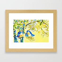 Yellow Bluebirds Sittin in a Tree, K I S S I N G by CheyAnne Sexton Framed Art Print