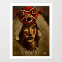 princess mononoke Art Prints featuring Mononoke by Debono Art