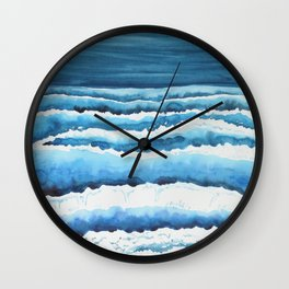 Watercolour waves crashing on the shore Wall Clock