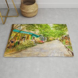Paris, France in the spring watercolour style oil-paint Rug