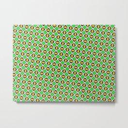 Green and Yellow Diamond Pattern Metal Print