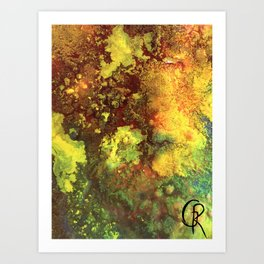 Primordial Abstract Painting Mixed Media On Canvas, Contemporary Artwork, Close-Up Photograph Art Print
