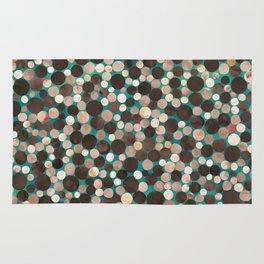 Brown and Emerald Watercolor Polka Dots Rug