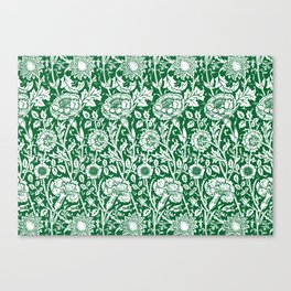 "William Morris Floral Pattern | ""Pink and Rose"" in Green and White 