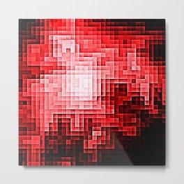 Red Nebula Pixels Metal Print