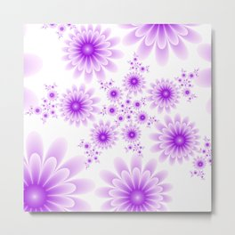 Pink Flowers on White Background Metal Print