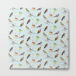 British Birds & Spring Blossom Metal Print