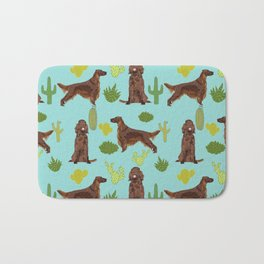 Irish Setter cactus southwest desert dog breed cute gift for dog lover pupper portrait pattern gifts Bath Mat