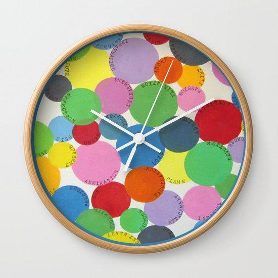 Word Bubbles Blue Wall Clock